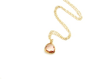 Rose Gold Necklace. Long and Layered Necklace. Glass Pendant. Minimalist Necklace. Birthstone Necklace. New Mom Necklace. Champagne Stone
