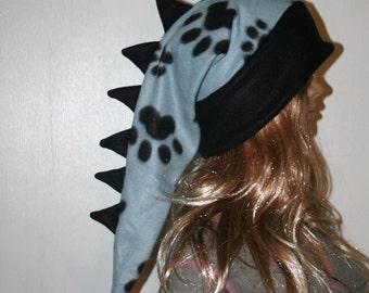 Dragon Hat Paw Prints Black Blue Alligator Long Snowboarding Dinosaur Tail Hat Fleece Winter Ski Snow Stocking