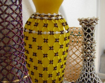 Beaded Bottles Tribal Netting Stitch Delica Czech Seed Beads Home Office Graduation Wedding Stocking Stuffer Birthday Party Favor Gift