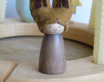 Easter Bunny for the Spring Nature Table, Waldorf Holiday Birthday Ring Decor, Rabbit, pink, brown, wood, Easter/ Spring decor