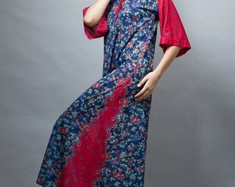 caftan kaftan vintage 70s maxi dress navy blue red floral hippie boho ethnic ONE SIZE S M L small medium large