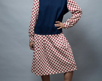 Plus Size dress 1X 2X vintage 70s pinafore dress, polka dot dress navy burgundy red