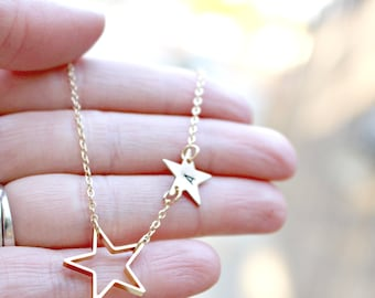 Golden Star Custom Initial Necklace - Personalized Name Initial Pendant - Tiny Double Stars Simple Everyday Necklace