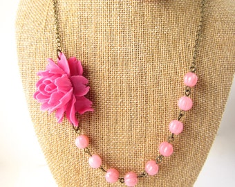 Pink Flower Necklace Statement Necklace Pink Wedding Jewelry Bridesmaid Jewelry Pink Jewelry Valentines Gift Beaded Flower Necklace