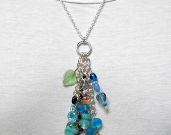 Necklace -  Recycled Bead Clusters on Large Silver Chain Pendant with Custom Chain or Cord and lobster claw clasp Glass Stone Vintage Beads