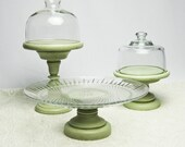 Six Pc Serving Set / Cloches on Pedestals / Pillar Holders / Cake Appetizer Plate / Hand Assembled and Painted in Aged Spring Green