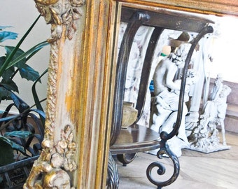 Vintage Large Wall Mirror, Leaning Mantle, Baroque Mirror,  Rectangle Mirror 32 x 44, Original Gilt Finish, Heavy Gesso Trim