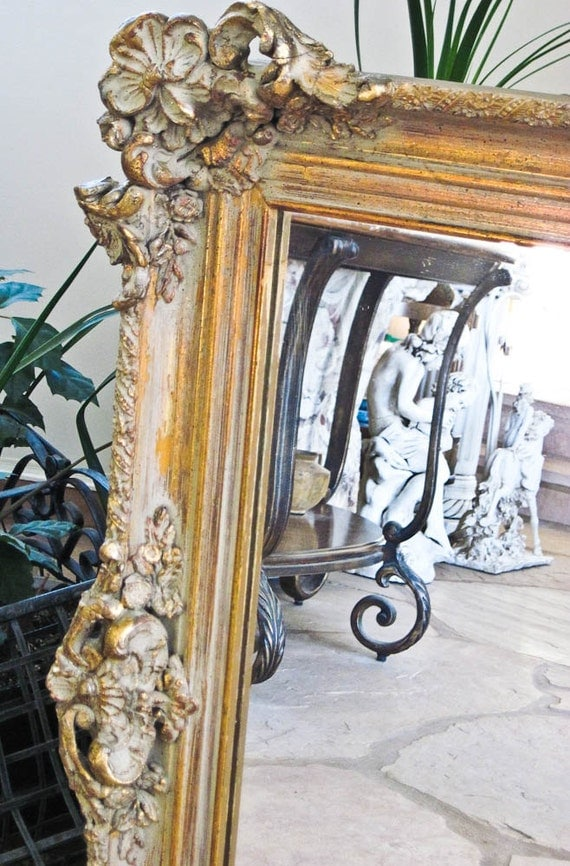 Vintage large wall mirror leaning mantle baroque mirror for Leaning wall mirror