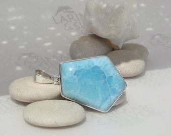 Larimar pendant, Pentacle of Atlantis - scaly turquoise Larimar pentagon, turtleback, goddess pendant, sky blue pendant, handmade pendant
