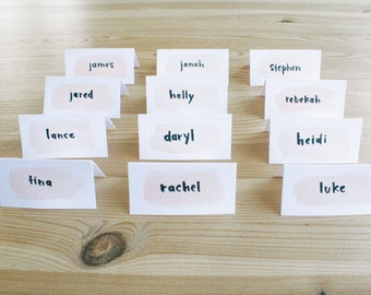 PRINT PLACE CARDS, custom printed first names with watercolor wash, style #2 - wedding, seating chart, name cards, escort cards, name tents