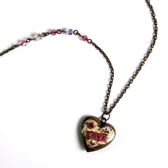 Heart Locket Necklace Valentine Jewelry Decoupaged Antique Gold Finish Locket Word Love Swarovski Crystal Boho Valentines Catholic Gift