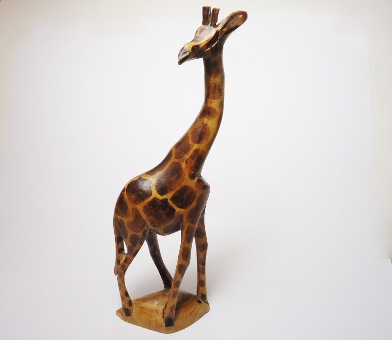 Vintage african hand carved giraffe statue by granvillegallery