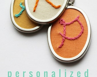 Personalized Necklace Hand Embroidery Initial Necklace Embroidered Letter Gifts for Her Jewelry Under 50 Custom Monogram Necklace Embroidery