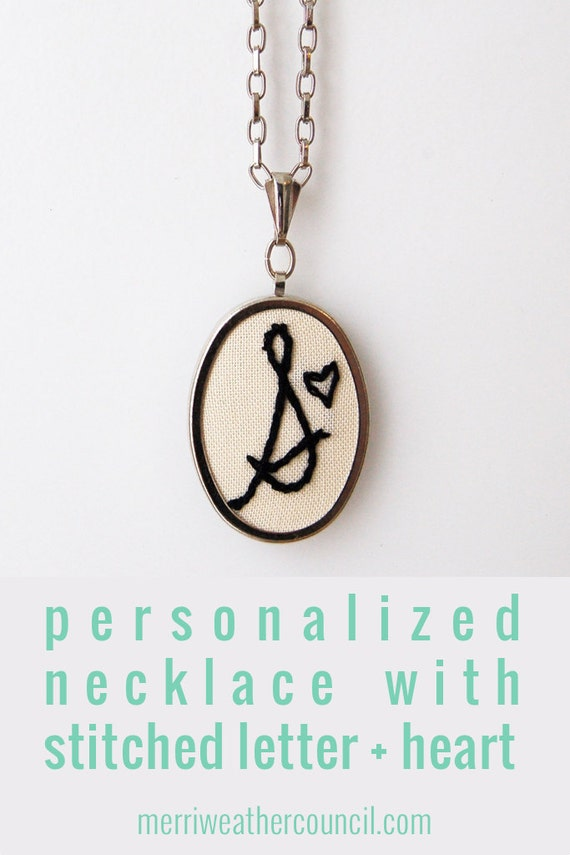 Simple Initial Necklace Name Pendant Necklace. Gifts for Teen Girls. Letter Necklace. Initial Jewelry. Personalized Gifts. Hand Embroidery.