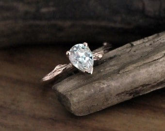 Pear engagement ring, Moissanite diamond alternative, twig bridal ring
