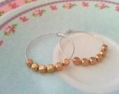Sterling silver hoop earrings with gold nugget beads - medium sized earring hoops