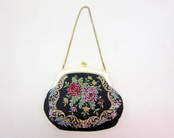 antique Needlepoint evening bag black with Roses petty point
