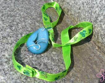 Blue Teardrop Drusy Necklace