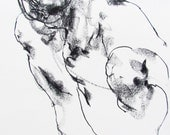 "Original Charcoal Figure Drawing  - Drawing 301 - 9 x 12"" charcoal on paper - original drawing"