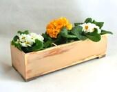 FREE SHIPPING - Wooden herb planter, Windowsill Flowerpot, Box for Herbs, Handmade box, Beige / Tan box, Spring Gift Ideas