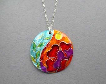 Red Flower Necklace painted by hand, Sterling Silver pendant, floral jewellery