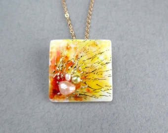 Abstract Pendant and Brooch painted by hand, Abstract Necklace, modern abstract jewelry, pearl jewelry