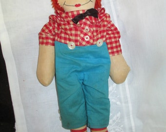 Raggedy Andy Doll/ Cloth Doll/ Antique Rag doll/ Old Doll/ Cottage Made c.1940's by Gatormom13 JUST REDUCED