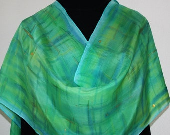 Silk Scarf Handpainted. Green, Turquoise Hand Painted Shawl. Handmade Silk Wrap SPRING BREEZE. Large 14x72. Birthday Gift, Mother's Day
