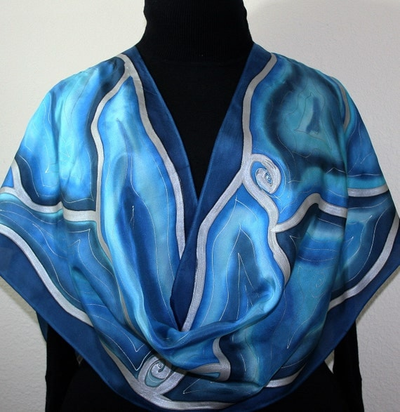 Silk Scarf Handpainted. Blue Hand Painted Shawl. Handmade Silk Wrap BEAUTIFUL BLIZZARD. Birthday Gift Mother's Day. Offered in Several SIZES