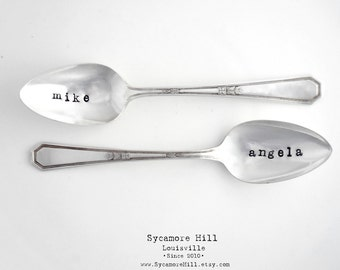 BIG Spoon and Little Spoon Pair of Spoons.  Custom. Personalized. Perfect for DIY Project.  Anniversary, Wedding, or Honeymoon Gift Idea.