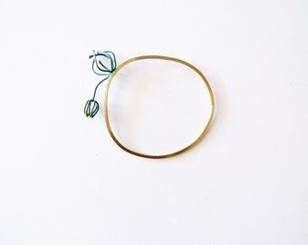 Abstracted Physalis bangle with one that escapes, abstracted flower bracelet