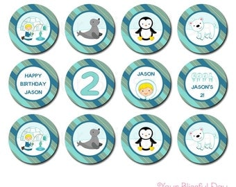 PRINTABLE Personalized Arctic Boy Party Circles (Character of your choice) #704