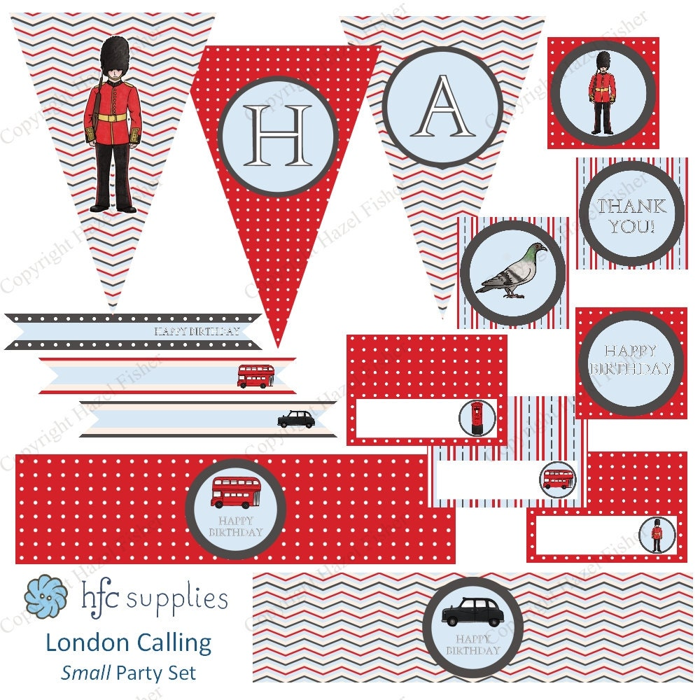 london calling small party set british printable birthday