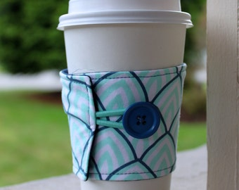 Adjustable Coffee Cup Sleeve - Light Aqua and Navy Sunrise - Cotton Coffee Cuff - Light and Dark Blue Java Jacket - Cup Cozy - Spring Fabric