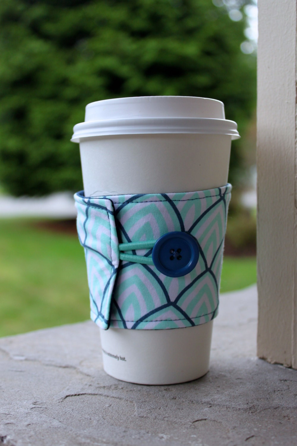 Adjustable Coffee Cup Sleeve Light Aqua and Navy Sunrise