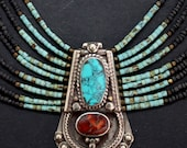 Nepalese multi strands bib Turquois and Black beaded necklace statement Gypsy necklace Boho jewelry by Inali