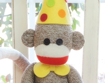 Happy Birthday Sock Monkey Doll - Choose Your Colors