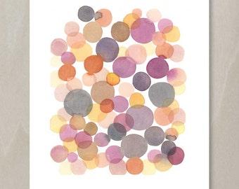 Watercolor Painting dots - Abstract painting pink orange Circles - Splash Modern Wall Art