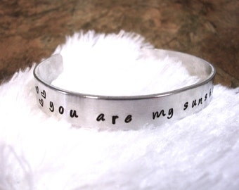 You Are My Sunshine Bracelet, Cuff Bracelet, Personalized Jewelry, Hand Stamped Jewelry, ID Bracelet