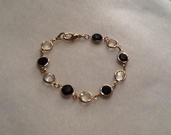 Vintage gold plated black 8mm Swarovski crystal bracelet