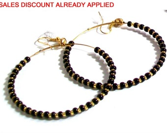 Beaded Hoop Earrings, Black, Gold, Beaded Hoop Earrings,  Available in Silver or Gold, Select Hoop Size, Bead Color