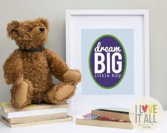 8x10 Dream Big Kids Wall Art Print . Nursery Decor . Boy Girl Baby Toddler Children . 8x10 Poster