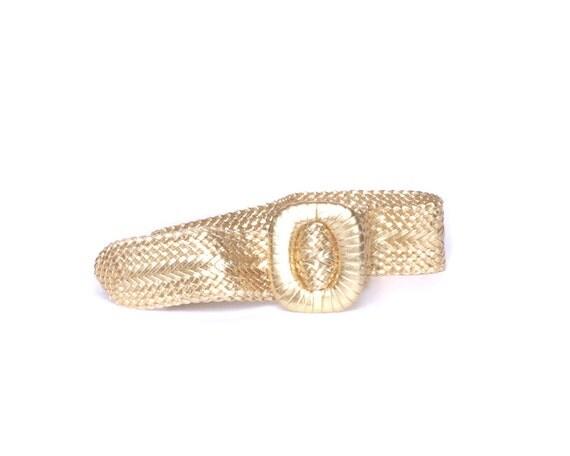 gold woven belt 80s cincher buckle wide by gravelghostvintage