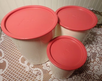Vintage Rose Pink One Touch Canister Set from Tupperware - One Seal Containers, Set of Three (3)  -  13-1544