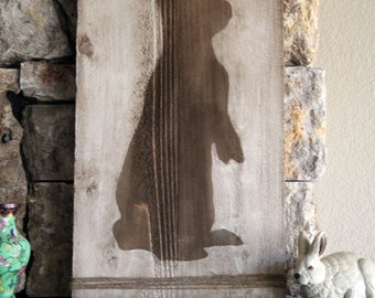 Tall Bunny Silhouette -  Distressed Wood Sign