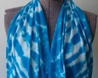 Tie Dye Infinity Scarf -- Turquoise Blue