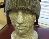 Large Natural Grey Alpaca Beanie