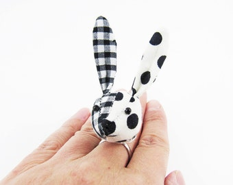 MADE-TO-ORDER ( 1 - 2 Weeks) Bunny Ring-Black Spots & Gingham Half