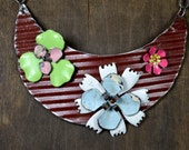 Salvaged & Upcycled Ceiling Tin Flower Statement Necklace: Perfect Patina, Stellar Subject, 100% Hand Crafted Art To Wear - ReaganJuel