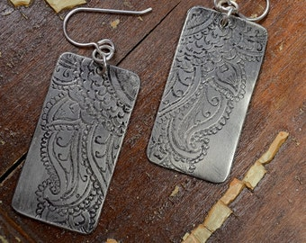 Sterling Silver Mehndi Earrings - Hand Engraved, Antiqued Patina Finish: ReaganJuel
